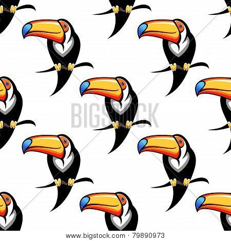 Colorful toucan bird seamless pattern