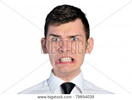 Isolated business man mad face
