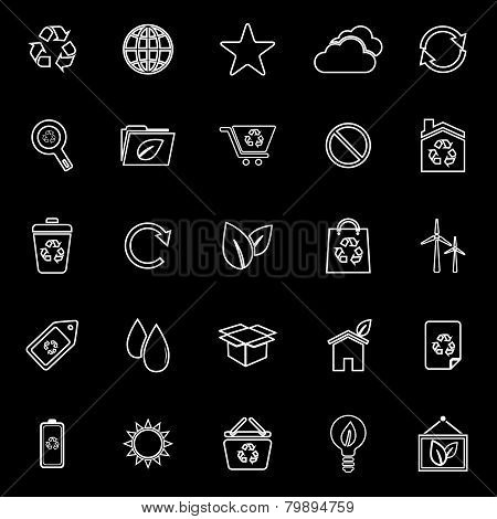 Ecology Line Icons On Black Background