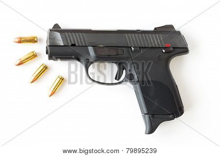 Gun and bullet on isolated white background. poster