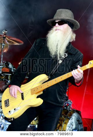 Dusty Hill of ZZ Top Playing Bass Guitar