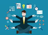 Human resources and self-development. Modern business - vector illustration poster
