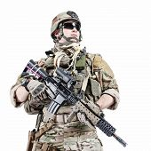 United States Army ranger with assault rifle poster