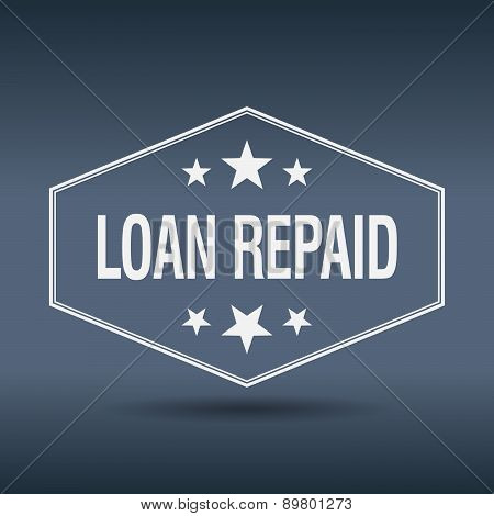 Loan Repaid Hexagonal White Vintage Retro Style Label