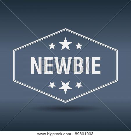 Newbie Hexagonal White Vintage Retro Style Label