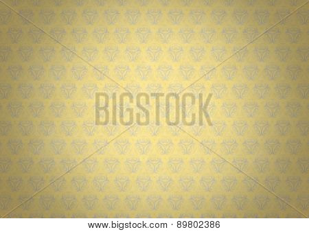 Yellow Vintage Wallpaper With Blue Flourish Ornament And Vignette
