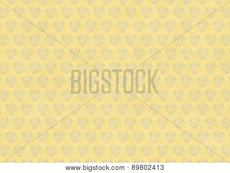 Yellow Vintage Wallpaper With Blue Flourish Ornament