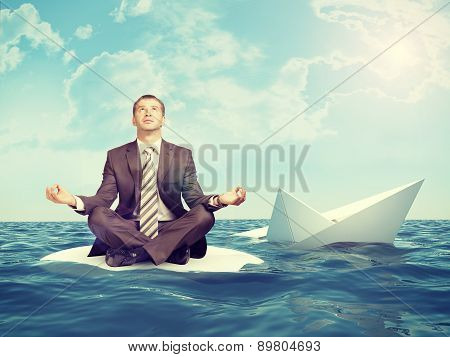 Businessman with sinking ship