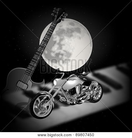 Rock Music Background With Moon
