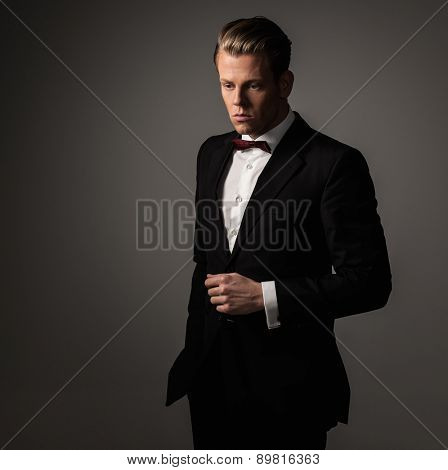 Sharp dressed man wearing jacket and bow tie poster
