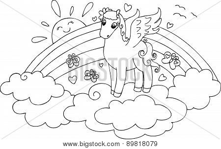 Coloring cute flying horse