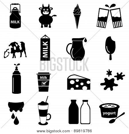Milk And Milk Product Theme Icons Set Eps10