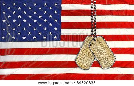 military dog tags on flag