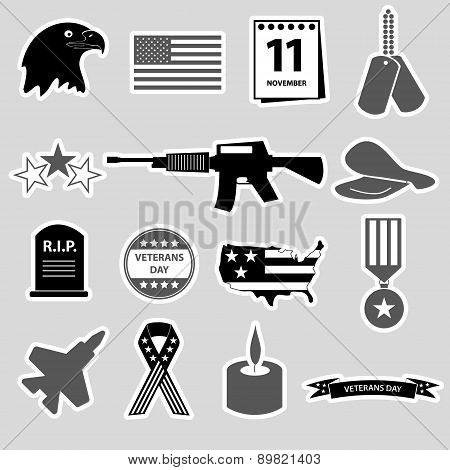 American Veterans Day Celebration Stickers Set Eps10