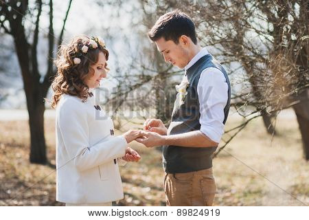 Marriage Proposal. Outdoors Wedding Ceremony
