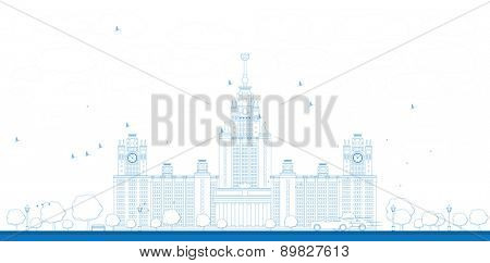 Outline MGU. Moscow State University, Moscow, Russia. illustration with cars
