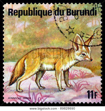 Vintage  Postage Stamp. Fennec. Animals Burundi.
