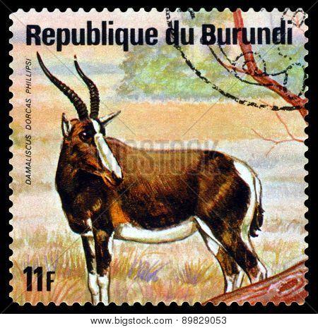 Vintage  Postage Stamp. White-fronted Hartebeest. Animals Burundi.