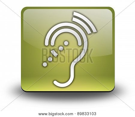 Icon Button Pictogram with Hearing Impairrment symbol poster