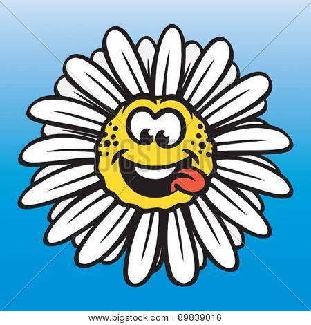 Funny chamomile flower, positive emotions concept. Vector illustration. Vector format EPS 8, CMYK.