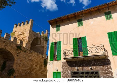 Alcudia Old Town fortres wall in Majorca Mallorca Balearic island of Spain
