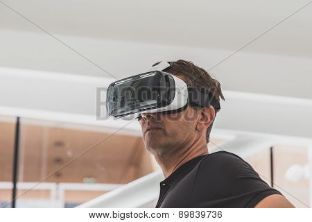 People Trying 3D Headset At Expo 2015 In Milan, Italy
