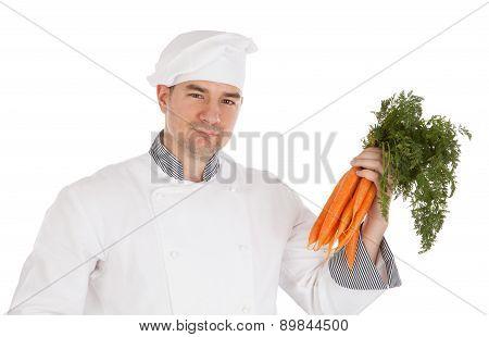 Chef Holding Fresh Carrots