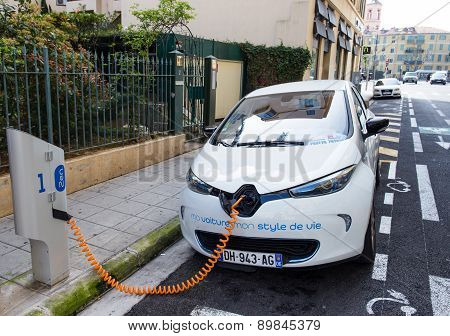 Renault Zoe Electric Car Connected To A Charging Station