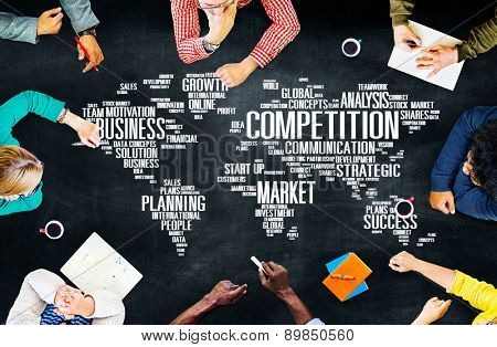 Global Competition Business Marketing Planning Concept