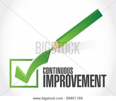 Continuous Improvement Check Mark Sign Concept