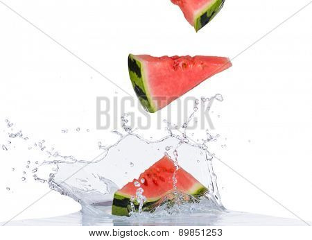 Fresh water melon in water splash isolated on white background
