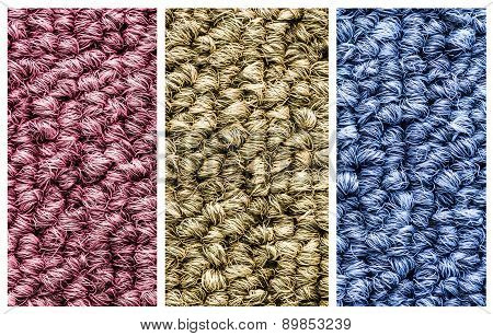 Close Up Three Colors Carpet Texture