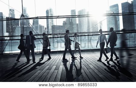 Business People Commuter Traevel Walking Corporate Concept