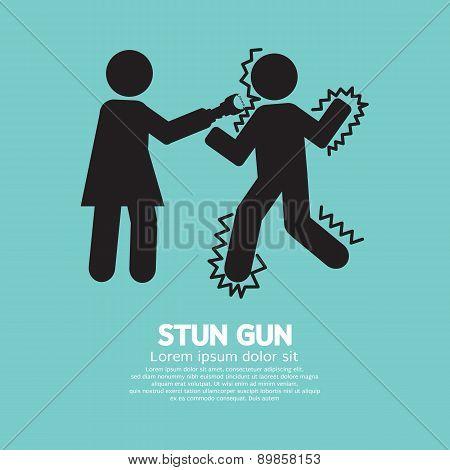 Woman Using A Stun Gun With A Man.