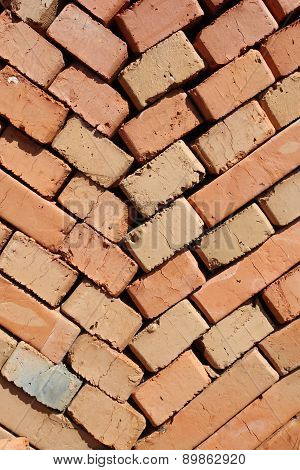 Clay Bricks Stacked Herringbone