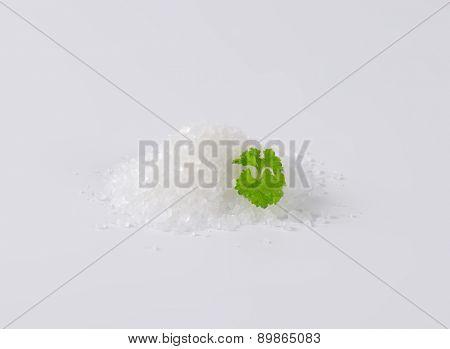 heap of crystal sea salt with parsley