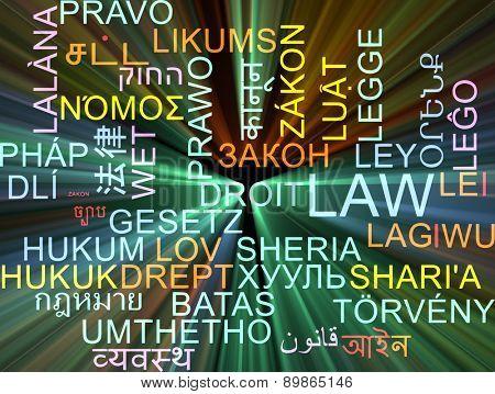 Background concept wordcloud multilanguage international many language illustration of law glowing light