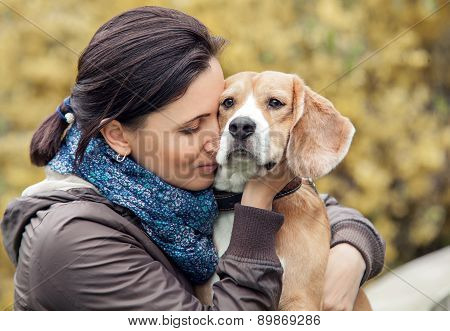 Woman And Her Favorite Dog Cordial Portrait