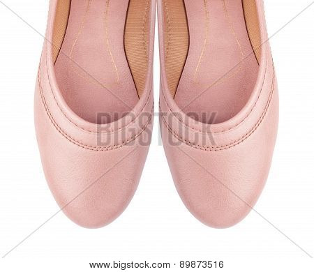 Shoes Ballet Flats Pink Female White Background Isolated