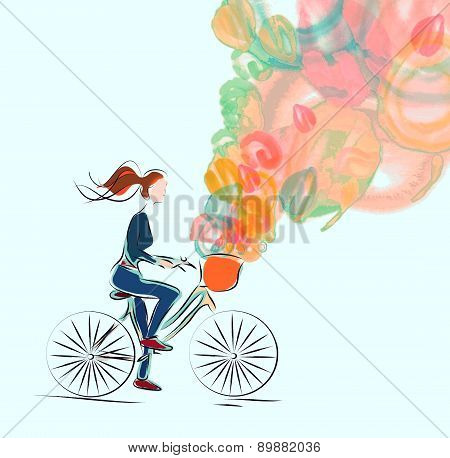 Girl, riding a bicycle
