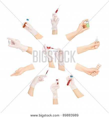 Collection Of Hands With Medical Tools