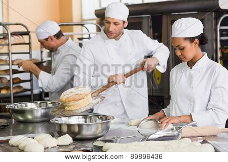 Team of bakers working together in the kitchen of the bakery