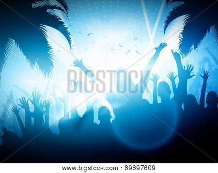 Party People on Beach | Vector Background - EPS10 Editable Design