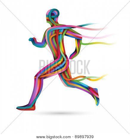 Running athlete, colorful ribbon runner, eps10 vector