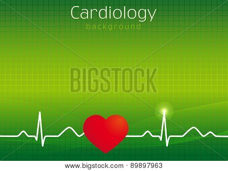 Cardiology design over green background vector illustration. Medical folder background. Outpatient card cover design in standard paper size or presentation's slide. Icons idea for hospitals, tests, clinics, pharmacies. Vector cardiowaves. Heartbeats graph