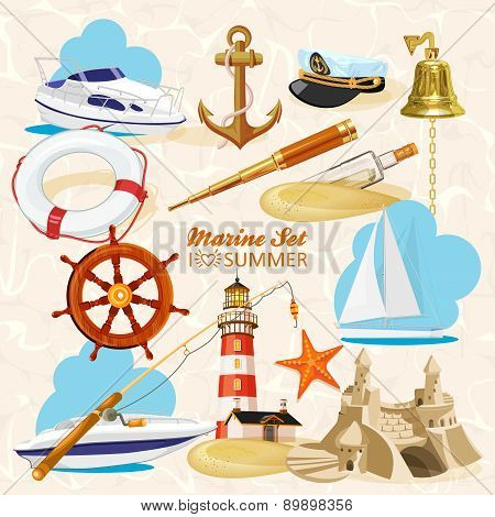 Set of nautical or naval elements