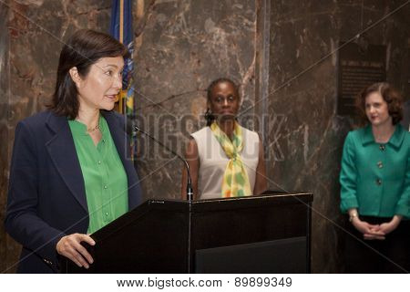 NEW YORK - MAY 5, 2015: President of NAMI, Barbara Ricci speaks at the ceremony to light the Empire State Building green to raise awareness for mental health needs and services in NYC.