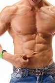 Fit, athletic muscular young man pinching his stomach skin and showing abs poster