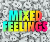 Mixed Feelings words in colorful 3d words on a background of jumbled letters in a pile to illustrate complicated, complex or confused emotions poster