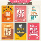 Collection of stylish Mega Sale Flyers with attractive discount offers.  poster